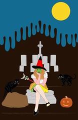 Forgotten Dreams, Untitled # 1 (Francesco Brunotti) Tags: moon art halloween cemetery graveyard yellow illustration youth blackcat pumpkin sadness tears witch bluesky forgotten araki dreams teenager dreamy vector shoegaze teenwitch sadwitch forgottenteen