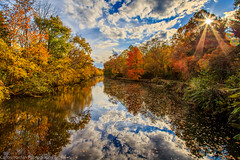 The D&R Canal - Princeton, NJ (Carlos L. Yordan) Tags: park autumn usa reflection fall clouds canon reflections canal newjersey state drcanal nj mercer foliage lensflare sunburst hdr mercercounty 6d 24105mm eflens 24105mml ef24105mm canon6d leafpepping