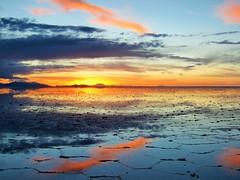 Sunset at Salar de Uyuni (SqueakyMarmot) Tags: travel sunset reflection southamerica clouds bolivia colourful saltflats 2015 salardeuyumi