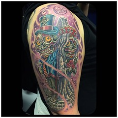 Finished the couple, background is healed #diadelosmuertos #dayofthedeadtattoo #pooch #alteredstatetattoo