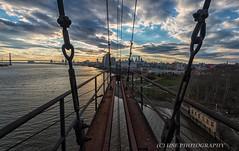 The sky is not my limit...I am.  T.F. Hodge. (hal.edelson) Tags: bridge sunset abandoned philadelphia clouds nikon pa urbanexploration trespass powerplant d800 1635 benjaminfranklinbridge