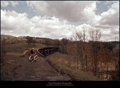 Humphrey's Trestle from the East, 1959 (Sherwood Harrington) Tags: nyow ow upstatenewyork chenangocounty guilford parker trestle 1959 vintageslide railroad bridge