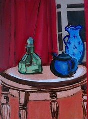 """The round table 16""""x11""""    41x29cm (monique shaw) Tags: ms table green bottle tea pot blue vase red curtain contemporay"""