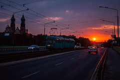 reward (ewitsoe) Tags: unrise dawn summer sunrise cloudy traffic cars tram travel ewitsoe nikon bridge cathedral lowsun street city cityscape urban polska poland europe tracks