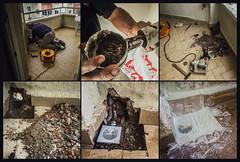 Emergency drain replacement (Melissa Maples) Tags: antalya turkey trkiye asia  apple iphone iphone6 cameraphone multipanel hexaptych dursun turk man worker handyman workman balcony construction drill drain trkiye