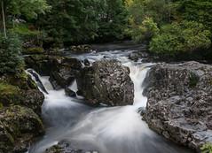 Waterfall at Betws y Coed on the Afon Llugwy (Jez B) Tags: betws y coed river waterfallwhite water afon llugwy north wales fast flowing rocks wet slippery trees