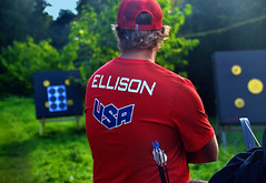 Brady Ellison - Team USA (Owen J Fitzpatrick) Tags: ojf people photography nikon fitzpatrick owen j joe pretty pavement chasing d3100 ireland editorial use only ojfitzpatrick eire dublin republic city tamron unposed social face candid candidphotography candidphoto natural archer archery kit bow compound sport world championship field competition nations international curved killruddery house garden estate team ponytail laugh laughter brady ellison target usa united states red america recurve gold medal champion sifa ifaf one number championships 2016 bowhunting