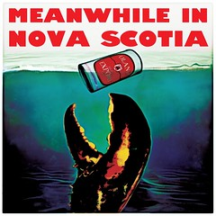 Meanwhile in Nova Scotia (Thought Knots Design) Tags: thoughtknotsdesign though thought knots design graphic logo brand maritime maritimes grime grimey east coastal coast noreaster water beer lobster claw crusher drink drunk party apparel clothes prints artwork nova scotia meanwhile jaws inspired poster