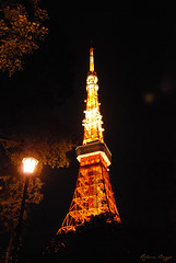 Tokyo night (DameBoudicca) Tags: tokyo tokio  japan nippon nihon  japn japon giappone shiba   tokyotower  shibaken   minato shibapark tower torn turm torre tour  natt night nacht nuit notte noche