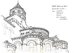 Clermont, Notre-Dame du Port (gerard michel) Tags: france auvergne clermontferrand glise roman sketch croquis
