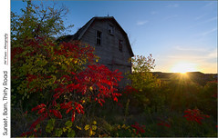 Sunset, Barn, Thirty Road Barn (jwvraets) Tags: grimsby beamsville thirtyroad barn autumn fall sunset niagaraescarpment niagara weathered sumac wildgrapes red yellow redrule opensource rawtherapee gimp nikon d7100 nikkor1224mm
