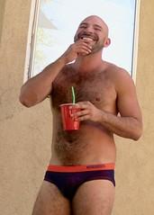 IMG_0214 (danimaniacs) Tags: party shirtless man guy hot sexy hunk mansolo bathingsuit trunks speedo bulge smile beard scruff bald hairy