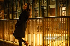 Girl in Covent Garden (akincansenol) Tags: 500px beautiful beauty black fashion female girl hair lights london model night pose pretty warm young