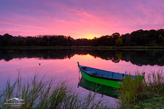 Radiant Pond (Mike Blanchette) Tags: capecod clouds eastham massachusetts nausetmarsh reflection saltpond sunrise boat marsh pink pinkclouds pond rowboat ma usa