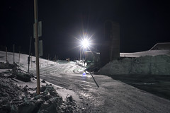 Parking Lot (Curtis Gregory Perry) Tags: timberline lodge oregon night snow winter parking lot light streetlight cold ice nikon d800e longexposure road