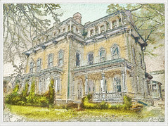 American Mansion in the manner of a watercolour (mistissimo) Tags: he victorian mansion digital digitally manipulated