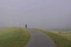 On his way (Mado46) Tags: deeenzamefietser einsamerradler lonelycyclist radfahrer fietser cyclist nebel fog mist deich dijk dike bxl06 mado46 nrw changeyourliferideabike 222v2f
