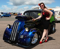 Holly_7370 (Fast an' Bulbous) Tags: ford pop popular fordson van custom car vehicle automobile people outdor outlawanglia drag strip race track santa pod england summer girl woman hot sexy chick babe model pinup long brunette hair dress wiggle skirt seamed stockings high heels shoes red black legs pose fast speed power pits sunglasses