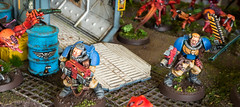 Situation Normal: Evacuation of Outpost 41 (Will Vale) Tags: ultramarines 28mm 40k scifi tyranid wh40k spacemarines tyranidwarrior genestealer scouts tyranids lostpatrol diorama gamesworkshop scalemodel armiesonparade displayboard