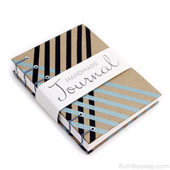 Black and Silver Stripe Washi Tape Journal handbound book by Ruth Bleakley - 6 (MissRuth) Tags: copticstitch copticjournal copticbookbinding washitape decotape journal handmadebook bookbinding bookarts diary giftsforwriters