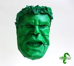 Green with Anger (mitanei) Tags: origami hulk mask face mitanei keepfoldingon faces gesicht origamiface angry wütend böse mean green grün maske