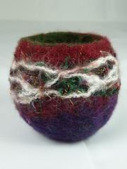 Xmas Burgundy Felt Tealight 1 (Natasha Smart Textiles) Tags: handmade wetfelted uk bowl tealight candle norwegian wool fleece felt yarn christmas xmas 2016 red burgundy green