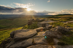 Approaching Sunset (languitar) Tags: grass rock colors clouds england sunset landscape higgertor ray light sky green peakdistrict sun unitedkingdom rocks sheffield gb