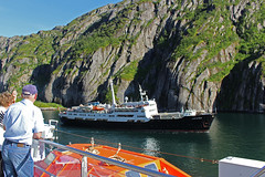 The MS Lofoten in the Trollfjord, Norway (4) (Phil Masters) Tags: 21stjuly july2016 norwayholiday norway raftsund raftsundet thetrollfjord trollfjorden trollfjord shipsandboats mslofoten hurtigruten msspitsbergen