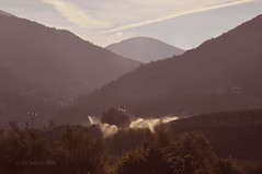Light and irrigation EXPLORED 112  on 25 November 2016 (Vee living life to the full) Tags: italy leger travel touring holiday nikond300 landscape rock towers mountain heathaze view road sky cloud blue water morning light bridge sun shine sunshine sunrise dawn
