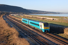 175010 Abergele 29th November 2016 (John Eyres) Tags: 175010 approaching abergele pensarn with 1h85 1052 chester manchester airport 291116
