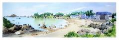 Saint-Guirec - Ploumanach - Bretagne - France (guymoll) Tags: saintguirec ploumanach bretagne france panoramique panoramic croquis sketch aquarelle watercolour watercolor plage rochers