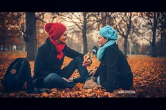 Fall in Love (akincansenol) Tags: 500px people woman fall adult man two lid winter cap outdoors wear family nature portrait fun love veil autumn color colour red aqua leaves sitting warm season fashion