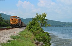 Nickajack lake in Tennessee is a very fun place to shoot and you can get many angles within just a miles stretch of road that runs beside the lake and the tracks as seen here. You can sometimes get a entire train in the shot here (MrRailfan) Tags: railroad lake train tn ns tennessee rr coal bnsf csx nickajack emd