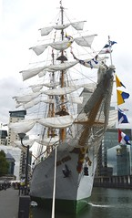 ARC Gloria (4) @ West India Dock 04-09-15 (AJBC_1) Tags: uk england london boat ship unitedkingdom vessel docklands tallship canarywharf sailingship eastlondon nikond3200 threemastedbarque sailtrainingship westindiadock arcgloria columbiannavy dlrblog ajc
