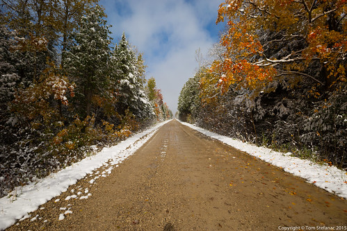 "Snow, Dirt Road & Fall Colours • <a style=""font-size:0.8em;"" href=""http://www.flickr.com/photos/65051383@N05/21669337044/"" target=""_blank"">View on Flickr</a>"