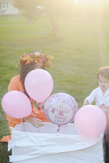 (irina_kra) Tags: life family light red orange baby fall love girl beautiful smile leaves balloons children fun reading book backyard hug couple child dress handmade husband naturallight teddybear wife sunflare 50mm18 nikond300 teepeehouse genderreveal