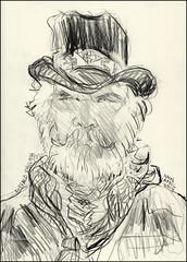 Buffalo Shilo (Kerry Niemann) Tags: cowboyactor pencilportrait goldfieldghosttown