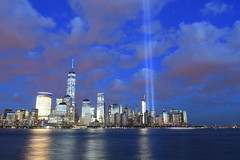 9-11 Tribute In Light 04 (Amaury Laporte) Tags: newyorkcity usa newyork unitedstates 911 landmarks northamerica tributeinlight memorials september11memorial