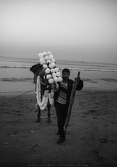 || The Tranter || (SouvikMetiaPhotography) Tags: morning winter sea portrait people blackandwhite horse india seascape man walking sand nikon flickr outdoor documentary driver dailylife operator