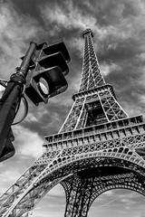 Somewhere you should GO! (mark196611) Tags: paris france eiffel tower black white traffic light monochrome