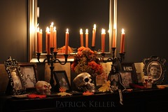 Halloween Altar 8 (BigSéance) Tags: halloweenaltar halloween halloweendecorating halloweendecorations orange candelabras candles candlelight mirror reflection flowers skull skeleton vintagehalloween vintage