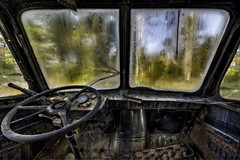 Behind the Wheel (Frank C. Grace (Trig Photography)) Tags: abandoned decay rusty crusty cars trucks automobiles antique highdynamicrange urbex forgotten junkyard junkyarddawgs urbanexploration frankcgrace trigphotography on1pics truck