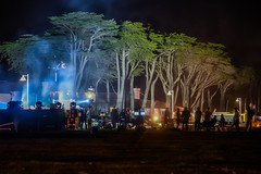 filming a commercial for a fitness product (pbo31) Tags: california nikon d810 october 2016 fall boury pbo31 bayarea sanfrancisco color marinadistrict black night dark commercial filming break trees camera crew silhouette spot lights tv