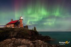 Aurora in the Moonlight (Michigan Nut) Tags: auroraborealis northernlights lighthouse nightsky stars michigan keweenawpeninsula lakesuperior aurora lighthouses upperpeninsula scenic longexposure midwest usa nature