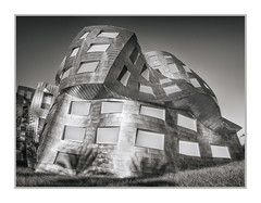 Frank Gehry Building, Lou Ruvo Center for Brain Health, Las Vegas, NV, #24 (Vincent Galassi) Tags: lasvegas nevada usa frankgehrybuilding louruvocenterforbrainhealth nv 24pentax645d pentax6735mm 1400s f16 iso400 architrecture city building black white cityscapes
