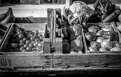 DSC_3083 (jameshowardphotography) Tags: vegetables veg mono monochrome wood box fruit black whit