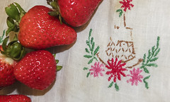 STRAWBERRIES AND STITCHES (sadler0) Tags: strawberry strawberries embroidery red pink green kitchen fruit berries