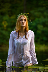 Lena (Ash and Debris) Tags: lily girl wet shirt river nature water waterlily young beauty lilies waterlilies green white