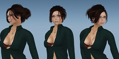 Facets (alexandriabrangwin) Tags: alexandriabrangwin secondlife 3d cgi computer graphics virtual world photography triple multiple psychological test mind memory facing green shirt red bra hair updo glasses haunting eyes pose asking question sky blue background