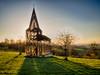 Sunglow Church (enneafive) Tags: church steel cortensteel gijs vanvaerenberg moire sun sky blue borgloon art olympus omd em5